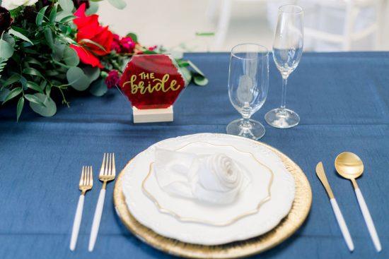 Wedding Reception Head Table Setup - Chatham Station