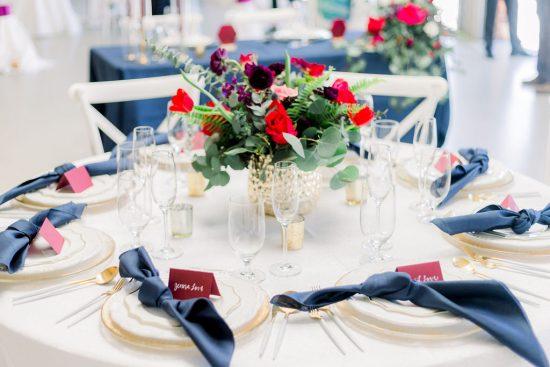 Wedding Reception Table Setup - Chatham Station